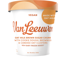 Van Leeuwen Oat Milk Ice Cream Reviews and Info - Vegan Artisan Pint Flavors. Pictured: Brown Sugar Chunk