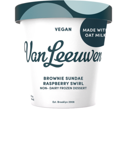 Van Leeuwen Oat Milk Ice Cream Reviews and Info - Vegan Artisan Pint Flavors. Pictured: Brownie Sundae