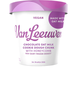 Van Leeuwen Oat Milk Ice Cream Reviews and Info - Vegan Artisan Pint Flavors. Pictured: Chocolate Cookie Dough Chunk