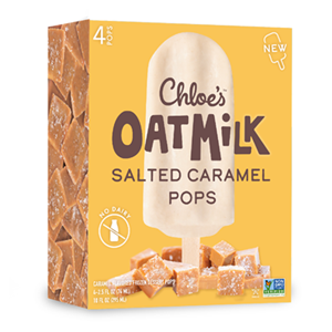 Chloe's Oatmilk Pops Reviews & Info (Dairy-Free, Gluten-Free, and Vegan Ice Cream Bars) Pictured: Salted Caramel