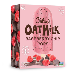 Chloe's Oatmilk Pops Reviews & Info (Dairy-Free, Gluten-Free, and Vegan Ice Cream Bars) Pictured: Raspberry Chip
