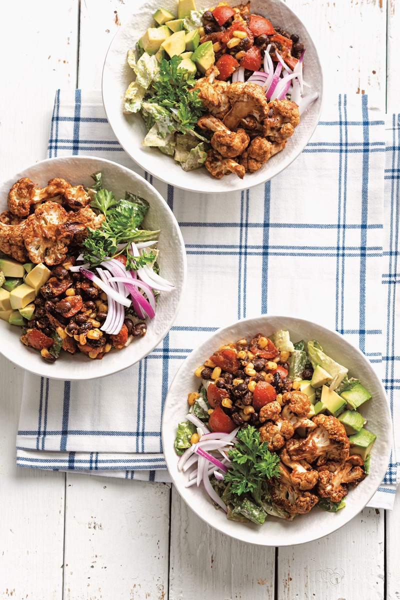 Vegan Ranch Salad Recipe with BBQ Roasted Cauliflower from Vegan Buddha Bowls (also Gluten-Free, Grain-Free, Soy-Free, Nut-Free Option)