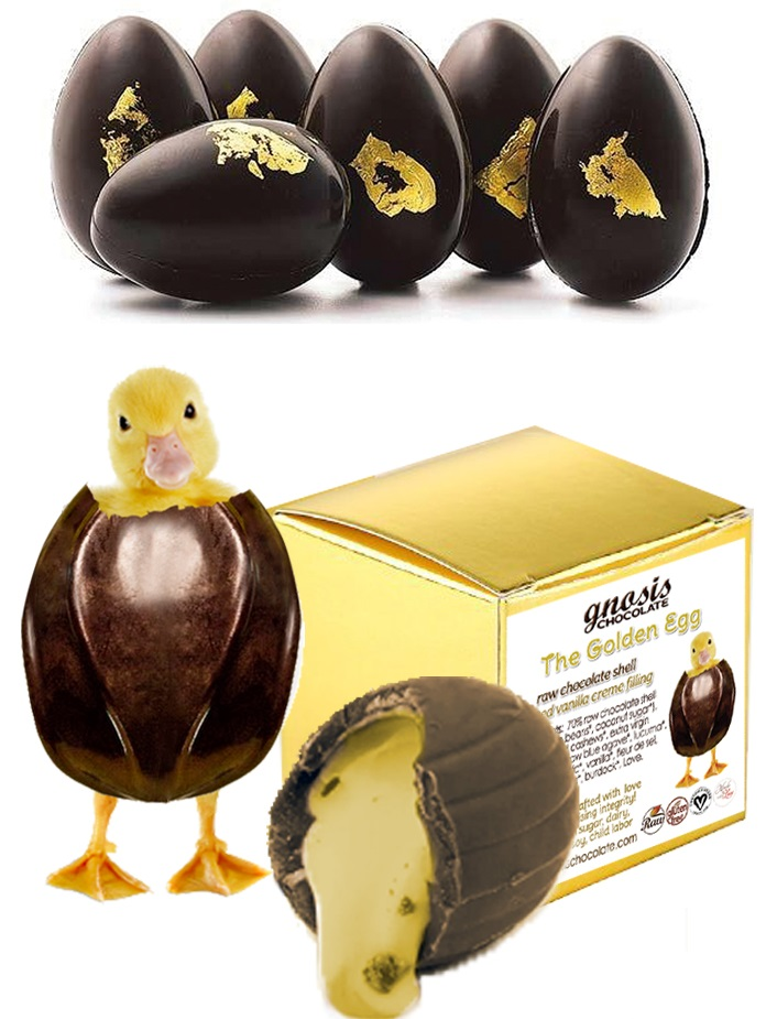 Dairy-Free and Vegan Alternatives to Cadbury Creme Eggs, including chocolate eggs with various cream fillings. US, Canada, UK, Europe, and Australian options! Pictured: Gnosis Raw Golden Eggs