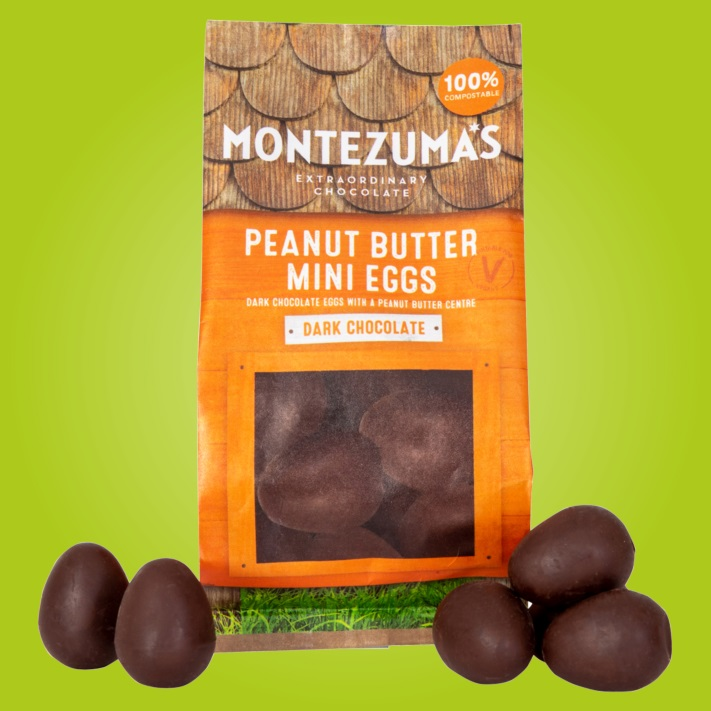 Dairy-Free and Vegan Alternatives to Cadbury Creme Eggs, including chocolate eggs with various cream fillings. US, Canada, UK, Europe, and Australian options! Pictured: Montezuma's Peanut Butter Eggs