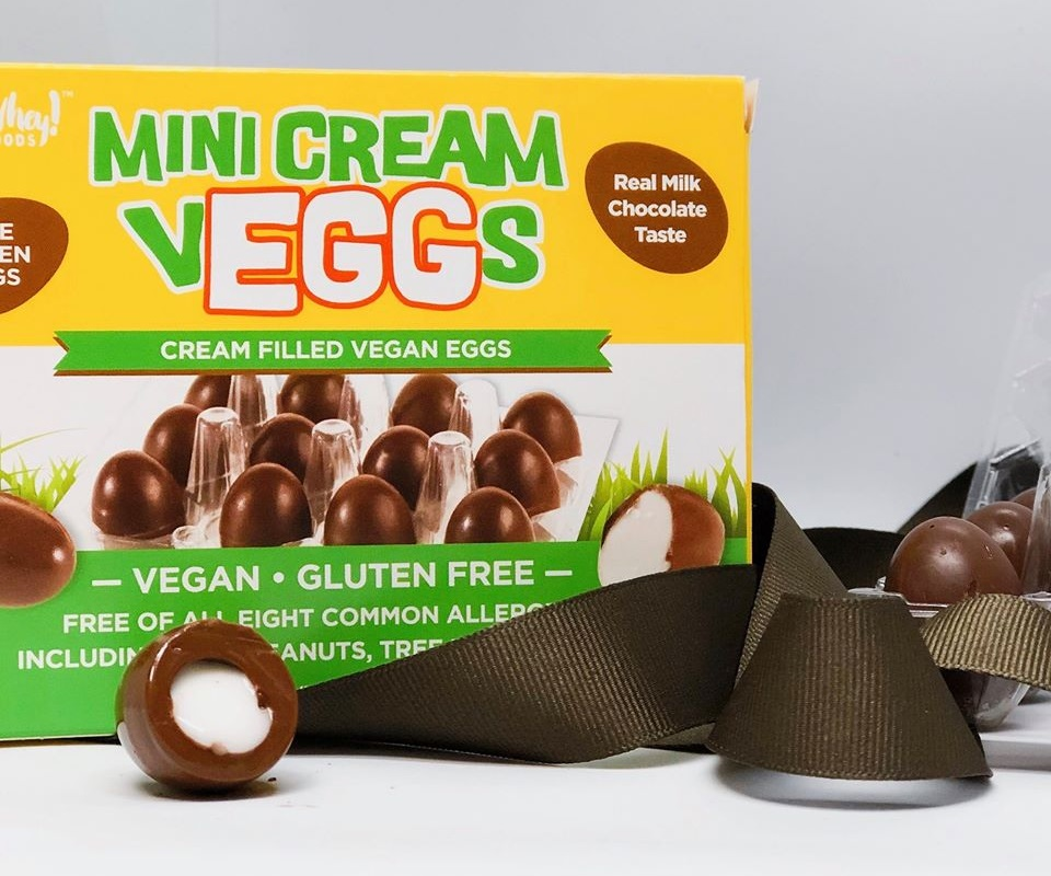 Dairy-Free and Vegan Alternatives to Cadbury Creme Eggs, including chocolate eggs with various cream fillings. US, Canada, UK, Europe, and Australian options! Pictured: No Whey Mini Cream Veggs