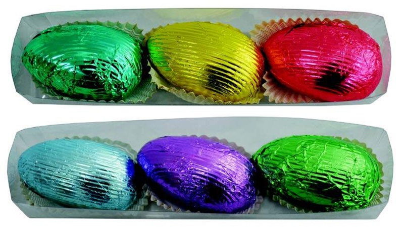Dairy-Free and Vegan Alternatives to Cadbury Creme Eggs, including chocolate eggs with various cream fillings. US, Canada, UK, Europe, and Australian options! Pictured: Sjaaks Caramel Eggs