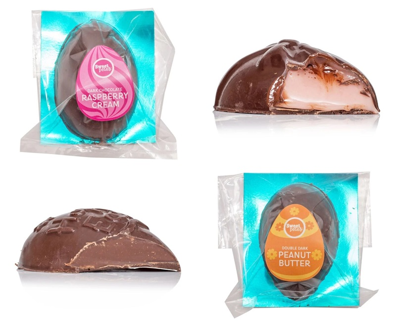 Dairy-Free and Vegan Alternatives to Cadbury Creme Eggs, including chocolate eggs with various cream fillings. US, Canada, UK, Europe, and Australian options! Pictured: Sweet Pete's Vegan Eggs