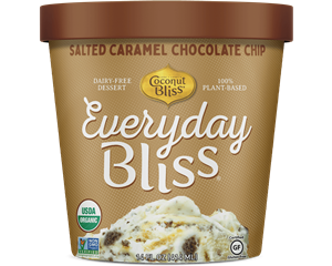 Everyday Bliss Ice Cream - A Decadent Dairy-Free Line by Coconut Bliss - lower calorie, lower price! Ingredients, and more details here. Pictured: Salted Caramel Chocolate chip