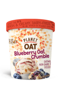 Planet Oat Ice Cream Reviews and Info: The Latest in Dairy-Free and Vegan Oat Milk Frozen Desserts. Available in 6 flavors. Pictured: Blueberry Oat Crumble