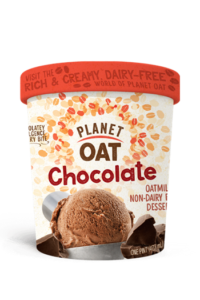 Planet Oat Ice Cream Reviews and Info: The Latest in Dairy-Free and Vegan Oat Milk Frozen Desserts. Available in 6 flavors. Pictured: Chocolate