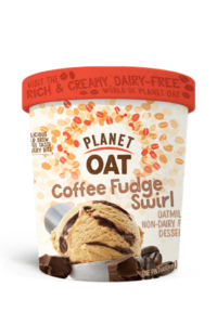 Planet Oat Ice Cream Reviews and Info: The Latest in Dairy-Free and Vegan Oat Milk Frozen Desserts. Available in 6 flavors. Pictured: Coffee Fudge Swirl