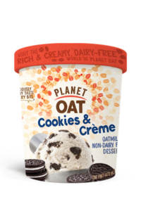 Planet Oat Ice Cream Reviews and Info: The Latest in Dairy-Free and Vegan Oat Milk Frozen Desserts. Available in 6 flavors. Pictured: cookies & creme