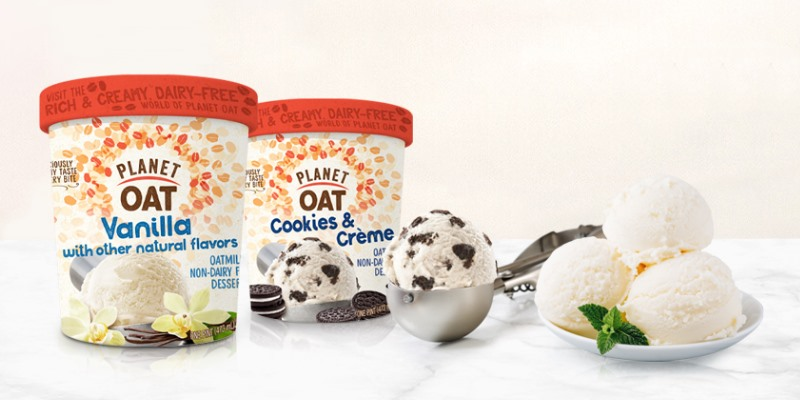 Planet Oat Ice Cream Reviews and Info: The Latest in Dairy-Free and Vegan Oat Milk Frozen Desserts. Available in 6 flavors. Pictured: Vanilla and Cookies & Creme