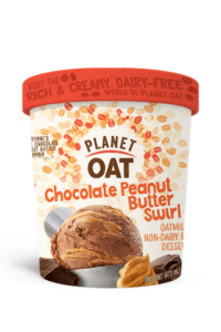Planet Oat Ice Cream Reviews and Info: The Latest in Dairy-Free and Vegan Oat Milk Frozen Desserts. Available in 6 flavors. Pictured: Chocolate Peanut Butter Swirl