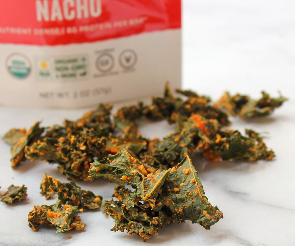 The Best Crunchy Cheesy Dairy-Free Snacks - from crackers to chips, puffs to popcorn, and more! Vegan, Gluten-Free, and Grain-Free Options. Pictured: Brad's Kale Chips