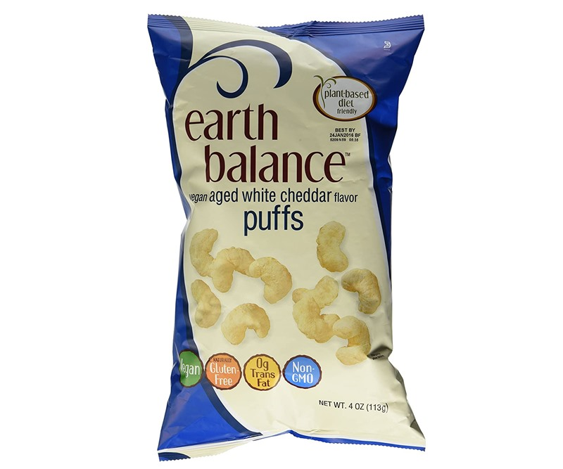 The Best Crunchy Cheesy Dairy-Free Snacks - from crackers to chips, puffs to popcorn, and more! Pictured: Earth Balance Aged White Cheddar Puffs