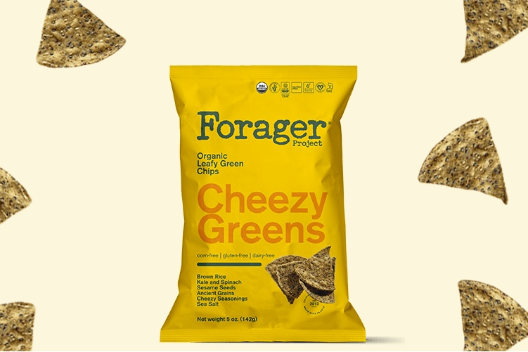 The Best Crunchy Cheesy Dairy-Free Snacks - from crackers to chips, puffs to popcorn, and more! Pictured: Forager Cheezy Greens Tortilla Chips