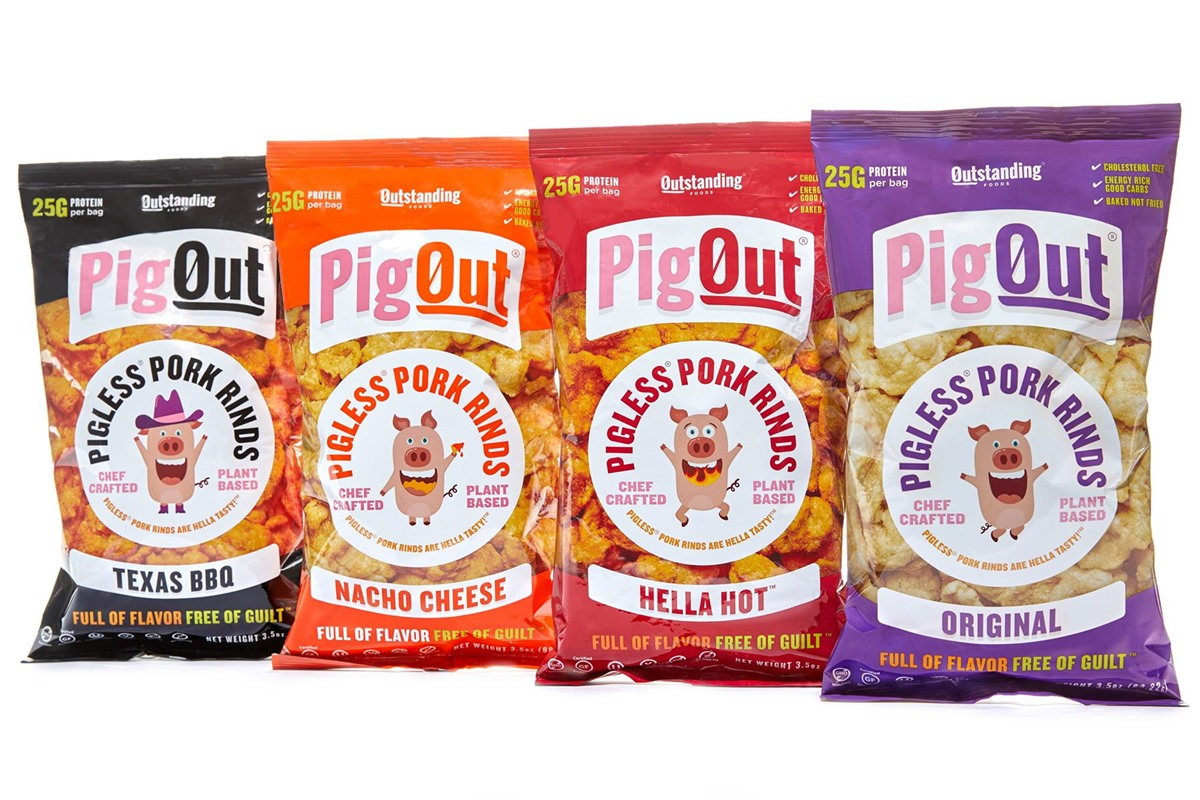 The Best Crunchy Cheesy Dairy-Free Snacks - from crackers to chips, puffs to popcorn, and more! Vegan, Gluten-Free, and Grain-Free Options. Pictured: Pigout Vegan Pigless Pork Rinds
