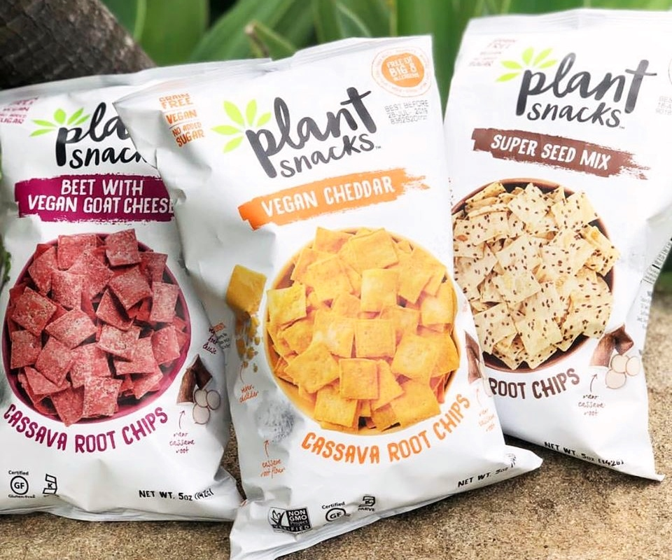 The Best Crunchy Cheesy Dairy-Free Snacks - from crackers to chips, puffs to popcorn, and more! Vegan, Gluten-Free, and Grain-Free Options. Pictured: Plant Snacks Vegan Cassava Root Chips