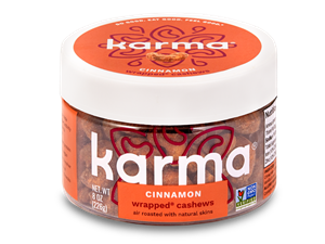 Karma Nuts Wrapped and Roasted Cashews Reviews and Info (Dairy-Free, Oil-Free, Gluten-Free, Vegan). Ingredients, availability, and more. Pictured: Cinnamon