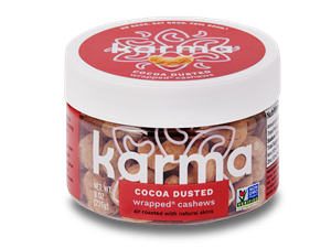Karma Nuts Wrapped and Roasted Cashews Reviews and Info (Dairy-Free, Oil-Free, Gluten-Free, Vegan). Ingredients, availability, and more. Pictured: Cocoa Dusted
