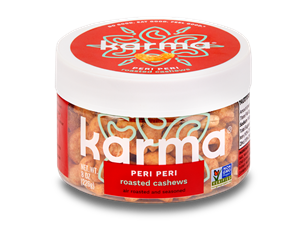 Karma Nuts Wrapped and Roasted Cashews Reviews and Info (Dairy-Free, Oil-Free, Gluten-Free, Vegan). Ingredients, availability, and more. Pictured: Peri Peri