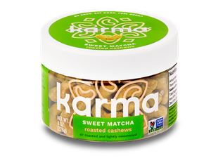 Karma Nuts Wrapped and Roasted Cashews Reviews and Info (Dairy-Free, Oil-Free, Gluten-Free, Vegan). Ingredients, availability, and more. Pictured: Sweet Matcha