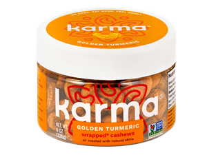 Karma Nuts Wrapped and Roasted Cashews Reviews and Info (Dairy-Free, Oil-Free, Gluten-Free, Vegan). Ingredients, availability, and more. Pictured: Golden Turmeric