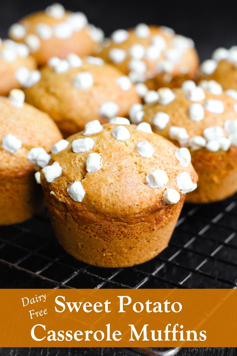 Dairy-Free These Sweet Potato Casserole Muffins Recipe - a catch-all for leftover sweet potatoes, canned sweet potatoes, and sweet potato casserole. Nut-Free, Soy-Free, Vegan option.