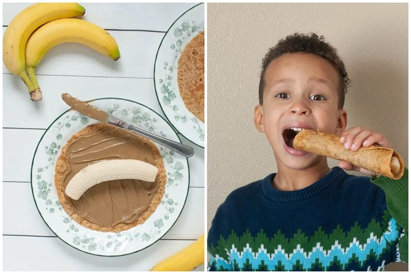 Fun Dairy-Free Snacks you can Make with Kids. Pictured: Banana Wraps