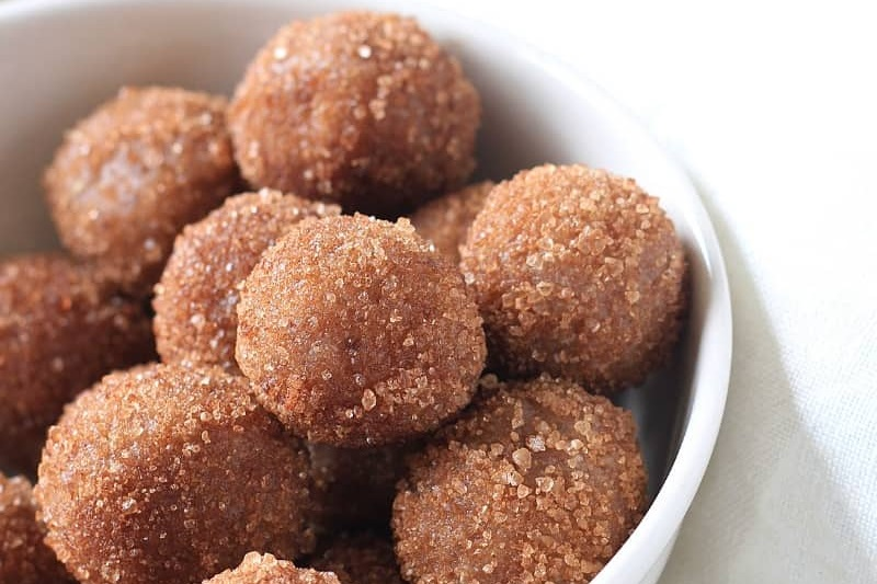 Fun Dairy-Free Snacks you can Make with Kids. Pictured: Keto Plant-Based Snickerdoodle Cookie Dough Bites Recipe