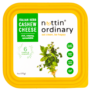 Nuttin Ordinary Cashew Cheese Reviews and Information - Dairy-Free, Gluten-Free, Oil-Free, All Natural (also paleo and keto friendly). Pictured: Italian Herb