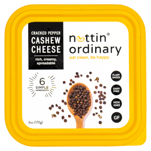 Nuttin Ordinary Cashew Cheese Reviews and Information - Dairy-Free, Gluten-Free, Oil-Free, All Natural (also paleo and keto friendly). Pictured: Cracked Pepper