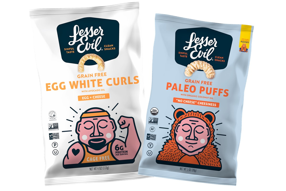 The Best Crunchy Cheesy Dairy-Free Snacks - from crackers to chips, puffs to popcorn, and more! Vegan, Gluten-Free, and Grain-Free Options. Pictured: LesserEvil Paleo Puffs