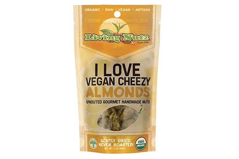 The Best Crunchy Cheesy Dairy-Free Snacks - from crackers to chips, puffs to popcorn, and more! Vegan, Gluten-Free, and Grain-Free Options. Pictured: Living Nutz Vegan Cheezy Almonds