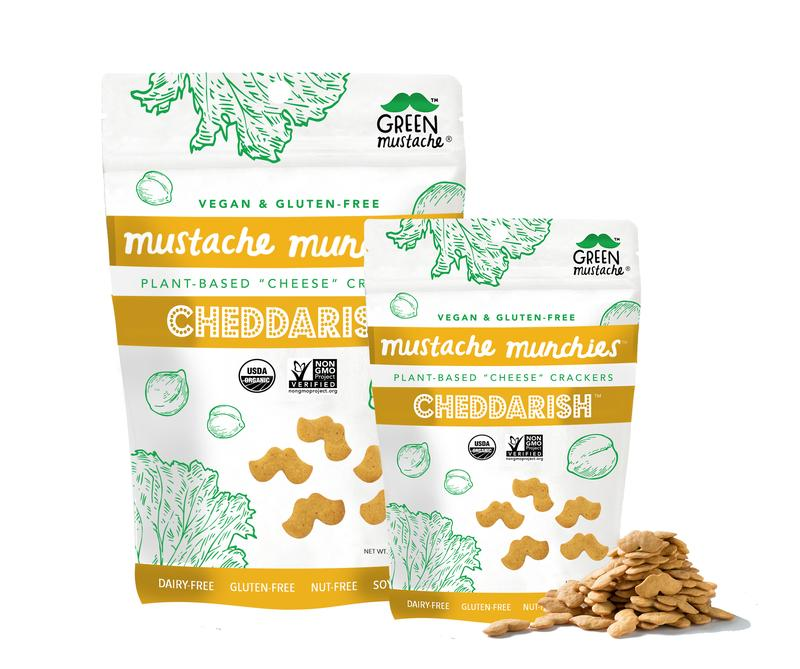 The Best Crunchy Cheesy Dairy-Free Snacks - from crackers to chips, puffs to popcorn, and more! Vegan, Gluten-Free, and Grain-Free Options. Pictured: Mustache Munchies Crackers