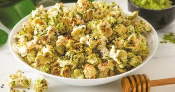Dairy-Free Honey Matcha Popcorn Recipe - healthy green tea snack that's naturally gluten-free, nut-free, soy-free, and plant-based, with vegan option.