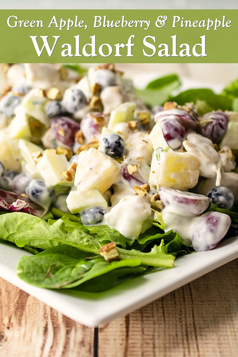 Dairy-Free Green Apple Waldorf Salad Recipe - Loaded with Fresh Produce and Other Healthy Ingredients - Options for Vegan and Nut-Free
