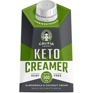 Califia Farms Keto Creamer Reviews and Information (Dairy-Free, Plant-Based, Soy-Free, and rich in MCT oil) Pictured: Unsweetened