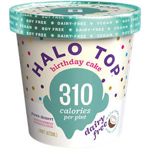 Halo Top Dairy-Free Frozen Dessert - vegan, soy-free and many gluten-free ice cream pint flavors that are low calorie, low sugar, and high protein. Pictured: Birthday Cake