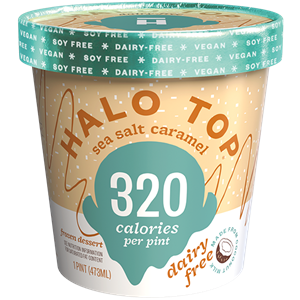 Halo Top Dairy-Free Frozen Dessert - vegan, soy-free and many gluten-free ice cream pint flavors that are low calorie, low sugar, and high protein. Pictured: Sea Salt Caramel