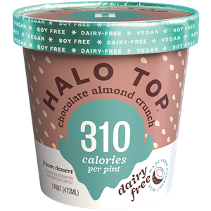 Halo Top Dairy-Free Frozen Dessert - vegan, soy-free and many gluten-free ice cream pint flavors that are low calorie, low sugar, and high protein. Pictured: Chocolate Almond Crunch