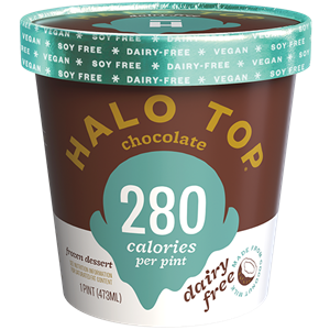 Halo Top Dairy-Free Frozen Dessert - vegan, soy-free and many gluten-free ice cream pint flavors that are low calorie, low sugar, and high protein. Pictured: Chocolate