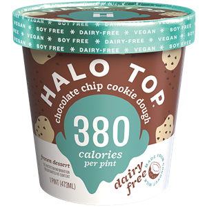Halo Top Dairy-Free Frozen Dessert - vegan, soy-free and many gluten-free ice cream pint flavors that are low calorie, low sugar, and high protein. Pictured: Chocolate Chip Cookie Dough