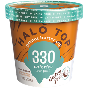 Halo Top Dairy-Free Frozen Dessert - vegan, soy-free and many gluten-free ice cream pint flavors that are low calorie, low sugar, and high protein. Pictured: Peanut Butter Cup