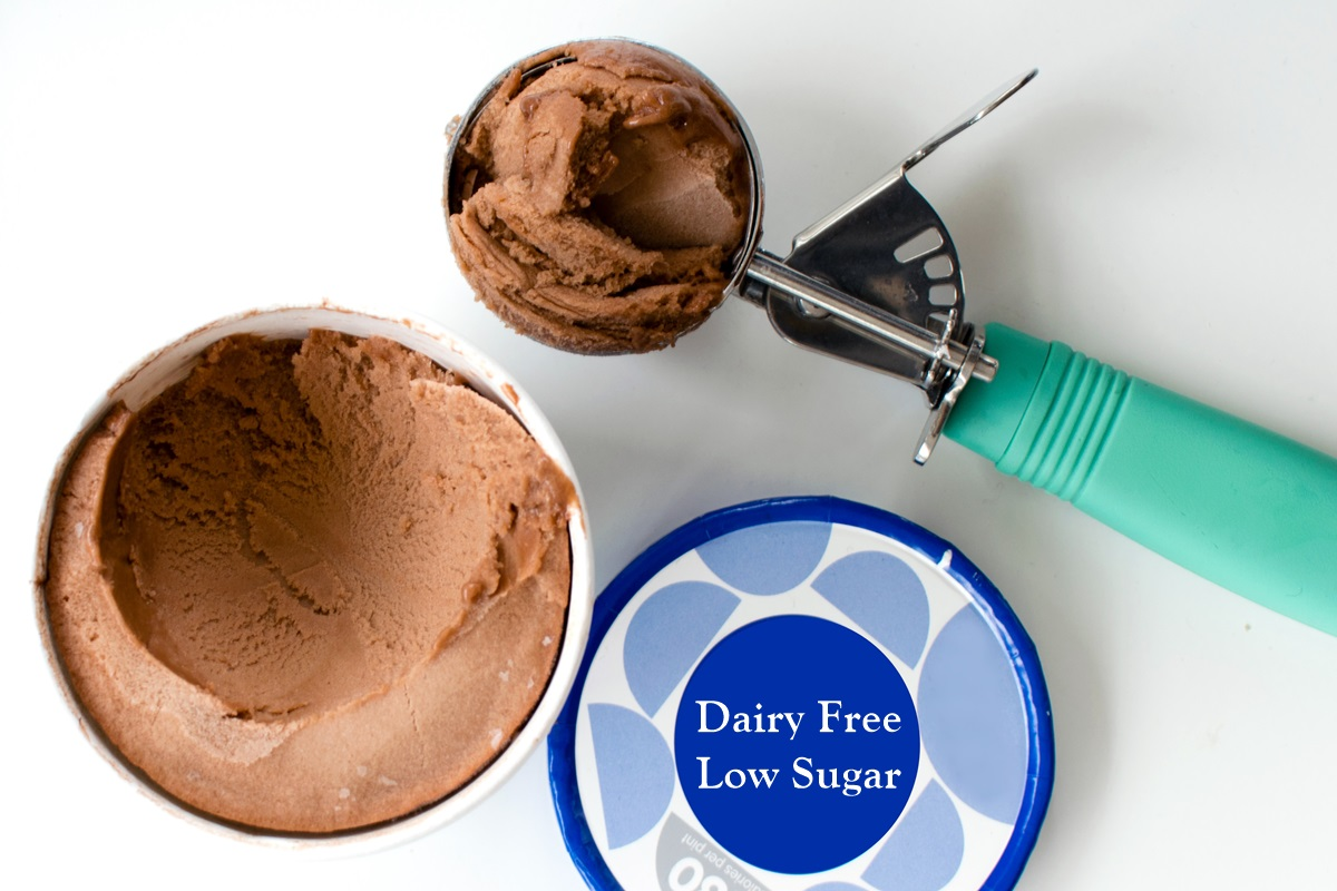 10 Low Sugar Dairy-free Ice Cream Brands and How they Rank - all plant-based, mostly vegan, mostly gluten-free, and some allergy-friendly. Includes sugar-free, fruit-sweetened, and generally low sugar, low calorie options.