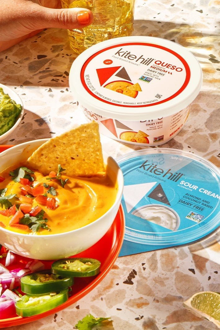 Kite Hill Dips Reviews and Info - Newer Dairy-Free, Plant-Based Queso - naturally fermented and seasoned