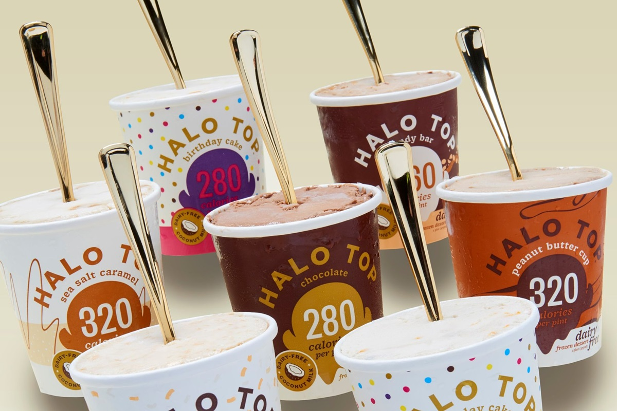 10 Low Sugar Dairy-free Ice Cream Brands and How they Rank - all plant-based, mostly vegan, mostly gluten-free, and some allergy-friendly. Includes sugar-free, fruit-sweetened, and generally low sugar, low calorie options. Pictured: Halo Top