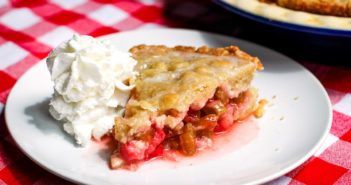 Dairy-Free Rhubarb Pie Recipe - with easy press-in oil pie crust and cobbled topping. Delicious glaze contrasts tart rhubarb. Also vegan, egg-free, nut-free, and soy-free.