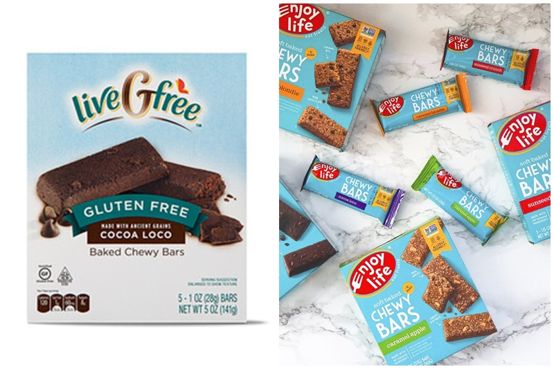 The Best Dairy-Free Snack Bars Round-up. Pictured: Enjoy Life Chewy Bars and Aldi liveGfree